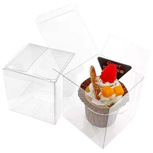 LASOA Clear Gift Boxes Fold Favor Boxes Packing Boxes Pastry Container for Cookie, Candy, Macaron, Party Favor, Mother's Day Gift Box,Bridesmaid Proposal, Cupcake, Wedding, Valentine,Birthday Present 3x3x3Inches, 50Pack