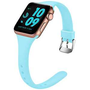Laffav Sport Bands Compatible with Apple Watch Band 40mm 38mm iWatch SE & Series 6 & Series 5 4 3 2 1 for Women Men, Luminous Blue, S/M