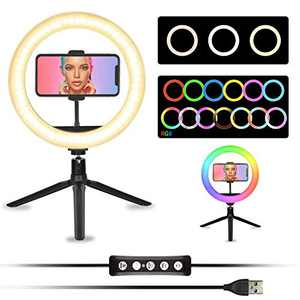 """Lifecapido 10"""" RGB Selfie Ring Light with Desktop Stand & Phone Holder, Dimmable Remote Control Led RingLight, Circle Light for Live Stream YouTube Video Makeup Tiktok, Compatible with iPhone Android"""