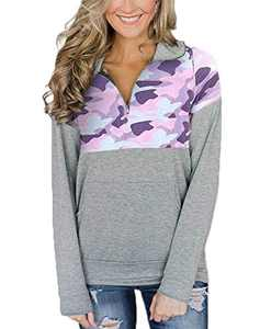Women Camo Shirts 1/4 Zip Tribal Pullover Sweatshirt Camo Color Block Casual Long Sleeve Blouse Top Pink Camouflage XXL