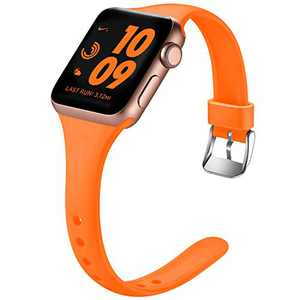 Laffav Sport Band Compatible with Apple Watch 42mm 44mm for Women Men Slim Sport Replacement Wristband for iWatch SE & Series 6 & Series 5 4 3 2 1, Luminous Orange, M/L