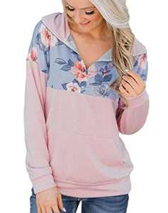Women Hoodless Fall Shirt Quarter Zip Collar Tribal Pullover Sweatshirt Western Floral Printed Blouse Top Pink L