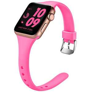 Laffav Slim Band Compatible with Apple Watch 42mm 44mm for Women Durable Soft Silicone Sport Replacement Strap Compatible with Apple Watch SE & Series 6 & Series 5 4 3 2 1, Luminous Pink, S/M