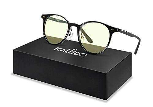 Blue Light Blocking Gaming Glasses, KALEIDO Computer Eyeglasses with Yellow Tinted Lens for Women Men, Anti Blue Ray, Anti-Reflective, Anti Eye Strain, Anti-UV (Glossy Black)
