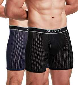 Men's Breathable Boxer Briefs Cool Mesh Comfort Lightweight Underwear Shorts No Ride Up Open Fly Soft Sports