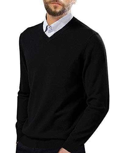 Ryannology Mens V Neck Pullover Sweaters Casual Long Sleeve Plain Slim Fit Sweatshirts Black