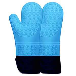 Oven Mitts Silicone Heat Resistant 500 Degrees Professional Oven Gloves Extra Long Non-Slip Grip Oven Mitts for Kitchen Baking Cooking Grilling Microwave BBQ Gloves (Blue, 1 Pair, 14.7 Inch)
