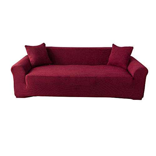 Gelozed Stretch Loveseat Sofa Slipcover Furniture Protector 2 Seater Coat Soft with Elastic Bottom Checks Spandex Jacquard Fabric Medium (Red, M)
