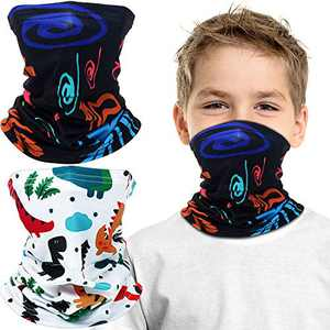 Kids Youth Face Cover UV Protection Bandana Neck Gaiter Scarf with Built-in Filter Pocket for Kids Outdoor Sports (2 Pieces, Cartoon Dinosaur, Graffiti)