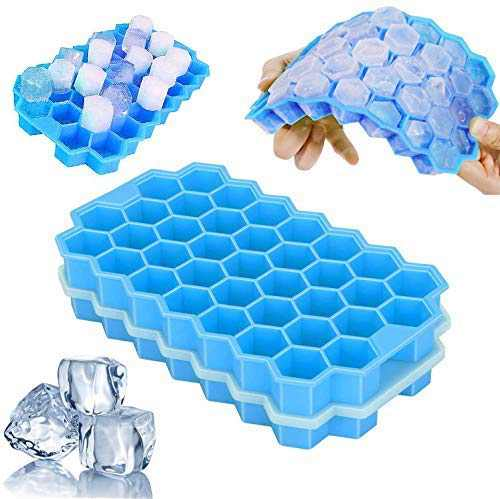 2 Pack Silicone with Lid Ice Cube Tray, Silicone Mini Ice Cube Trays, Flexible 74-Ice Trays BPA Free, for Whiskey, Cocktail, Stackable Flexible Safe Ice Cube Molds