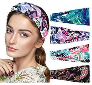 Boho Bandeau Headbands, Hapdoo Wide Bandana Headbands, Cross Knot Head Wrap Hair Band, Beach Headbands for Women, Girls Bohemia Hairbands, Pack of 4