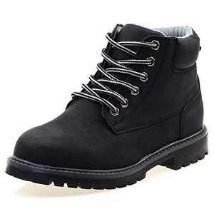 LseLom Boys Hiking Boots Combat Boots Ankle Boot Waterproof Non-Slip Outdoor Big Kids Winter Warm Shoes with Zipper Lace-Up Bootie for Boys Black Size 2