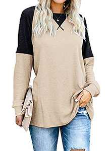 Women's Color Block Round Neck Long Sleeve Pullover Shirt Casual Tunic Tops for Leggings Light Khaki