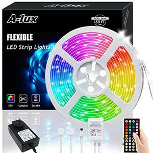 50ft RGB LED Strip Lights Kit, A-1ux 15M Flexible Color Changing LED Light Strips with DC12V Power Supply 44Key IR Remote Controller, Decor for Bedroom,Party,Bar ,Kitchen
