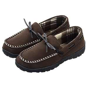 LseLom Mens Moccasin Slippers Indoor Outdoor Memory Foam Arch Support Slippers for Men Cozy House Shoes with Rubber Soles Brown Size 11