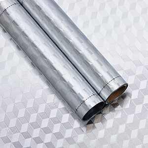 Kitchen Oil Proof Wall Sticker, Peel-and-Stick Backsplash Wall Paper Aluminum Foil Heat Resistant Countertop Protective Sticker, 3D Cube Pattern