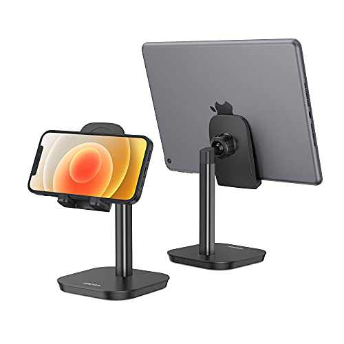 """OMOTON Cell Phone Stand, Fully Rotatable Desk Phone Holder with Weighted Base, Compatible with All Cell Phones, iPad, Samsung Tabs and Other Devices (4-11""""),Black"""