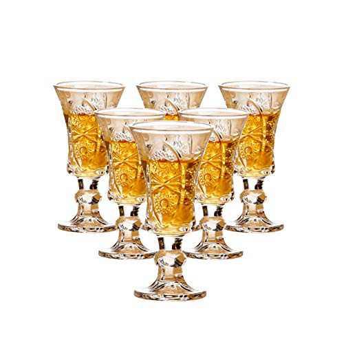 Round 1.3-Oz Shot Glasses, Lead-Free Glass, Clear Heavy Base Shot Glass Set of 6