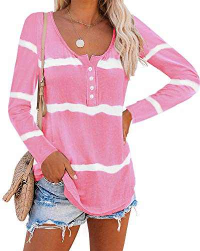 Umeko Womens Long Sleeve Tops Tie Dye Scoop Neck Henley Shirts Loose Casual Striped Workout Blouse Tees (Small, 4-Pink)