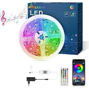 LED Strip Lights for Bedroom - Maxuni 19.6Ft/6M RGB Light with Remote Control Music Sync Color Changing - APP Support Light Strip for Room Kitchen TV