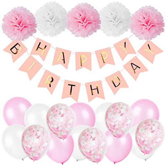 NYOKU Birthday Decorations Confetti Balloons Happy Birthday Banner for Kids Adults