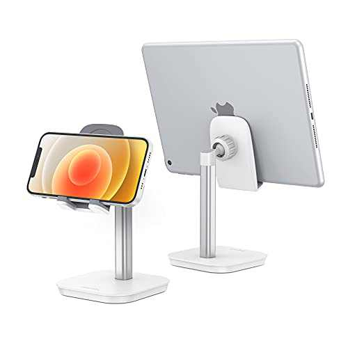 "OMOTON Cell Phone Stand, Fully Rotatable Desk Phone Holder with Weighted Base, Compatible with All Cell Phones, iPad, Samsung Tabs and Other Devices (4-11""),Silver"