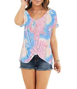AMCLOS Womens Multicolor Tie Dye Tops with Front Twist Tunic Short Sleeve Summer(F-36,M)
