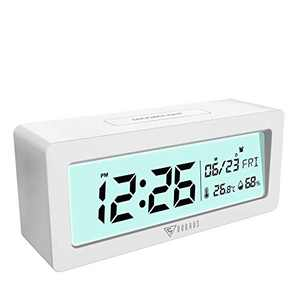DOQAUS Digital Alarm Clock with Indoor Thermometer Humidity Monitor, LCD Display Kids Alarm Clock with Backlight & Snooze, Battery Operated Alarm Clock for Bedroom Bedside Desk Table (White)