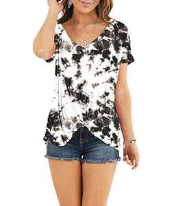 AMCLOS Womens Multicolor Tie Dye Tops With Front Twist Tunic Short Sleeve Summer (F-33,S)