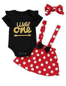 Shalofer Baby Girl Wild One Suspender Skirt Toddler 1st Birthday Bodysuit (Red,12-18 Months)