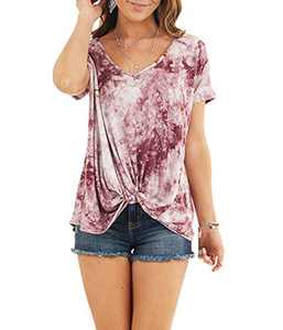 AMCLOS Womens Multicolor Tie Dye Tops With Front Twist Tunic Short Sleeve Summer (F-39,2XL)