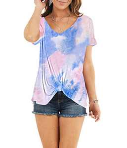 AMCLOS Womens Multicolor Tie Dye Tops With Front Twist Tunic Short Sleeve Summer (F-40,L)