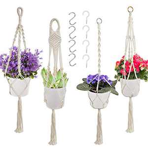 4 Pack Macrame Plant Hangers with 8 Hooks, Indoor Hanging Planter Basket with Tassels, Different Tiers, Handmade Cotton Rope Hanging Planters Set Flower Pots Holder Stand Outdoor Boho Home Decor