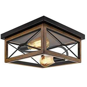 ROTTOGOON Flush Mount Ceiling Light, 12 Inch 2-Light Rustic Ceiling Light Fixture with Clear Tempered Glass Shade for Entryway, Hallway, Foyer, Dining Room, Living Room, Wood Color and Black Finish