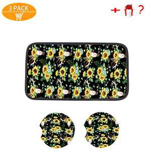 3PCS Sunflower Accessories for Car,Sunflower pattern center pad cover,2PCS Car Cup Holder Coaster and 1pcs gift Sunflower Keyring (Style 5)