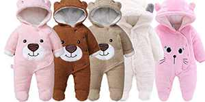 Slivery Color Baby Girl Outfit Snowsuit Warm Fleece Hooded Romper Jumpsuit Outfit Hoody Coat Bodysuit Pink Cat 9M 73cm