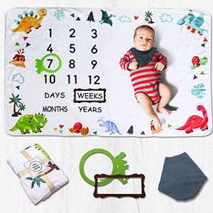 Baby Milestone Blanket for Boys and Girls, Monthly Blanket for Picture, Dinosaur Plush Memory Blanket for Newborn Baby Shower Registry, Baby Growth Chart Blanket