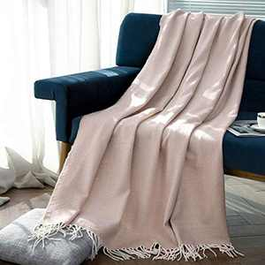 Sylanfia Tassel Fringe Knitted Throw Blanket for Couch, Decorative Sofa Blanket, Outdoor Farmhouse Rustic Knitted Blanket,127x152cm, Beige