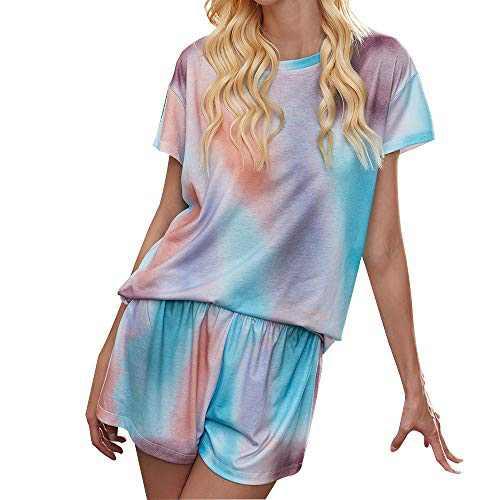 IPOTECH Women's Tie Dye Shorts Pajamas Set Short Sleeve Sleepwear Two Piece Nightwear