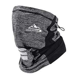 CFinke Neck Gaiter Face Mask Men Women Reusable with Drawstring Easy Adjustable Cooling Breathable Wind Dust UV Sun Proof Running Mask Soft Face Scarf for Cycling Fishing Commuting Hiking, Grey