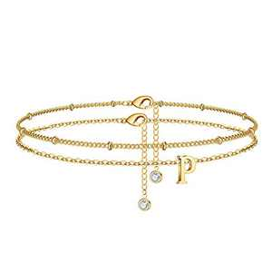 MONOZO Ankle Bracelets for Women, 14k Gold Filled Layered P Initial Anklet for Women Dainty Alphabet Letter Charm Beach Ankle Bracelets for Teen Girls Best Friends Sisters Daughter Mother