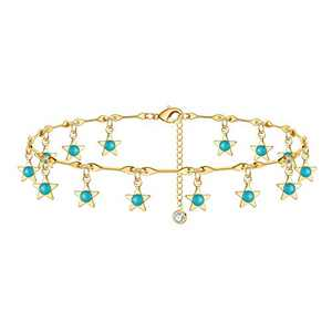 IEFSHINY Gold Ankle Bracelets for Women, 14K Gold Plated Gold Star Anklets for Women Jewelry