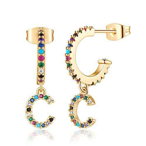 C Initial Hoop Earrings, Sparkling CZ Letter Huggies, Small Dangle Hoops, 14K Gold Plated, Delicate Jewelry, Gift For Women Men, Earrings for Teenage Girl