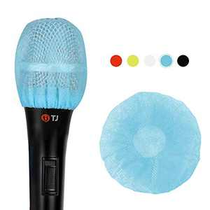 Teeker 200 Pieces Disposable Microphone Cover Non-Woven Microphone Cover Handheld Microphone Windscreen Protective Cap for KTV Karaoke Recording Room Stage Performance (Blue)