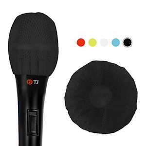Teeker 200 Pieces Disposable Microphone Cover Non-Woven Microphone Cover Handheld Microphone Windscreen Protective Cap for KTV Karaoke Recording Room Stage Performance (Black)