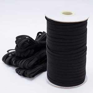 """Fancico Flat-Elastic-Band, Braided String Strap for Sewing, High Comfort & Skin-Friendly Elastic Rope, Elastic Cord 200-Yards Length 1/4"""" Width, for Manual DIY Crafts, Face Mask, Bedspread, Black"""