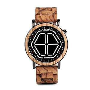 Mens LED Digital Display Wooden Watches Handmade Night Vision 22mm Band Bamboo Wirst Watches (White)