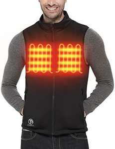 PTAHDUS Men's Lightweight Heated Vest with 7.4V Rechargeable Battery Pack (X-Large, Black)