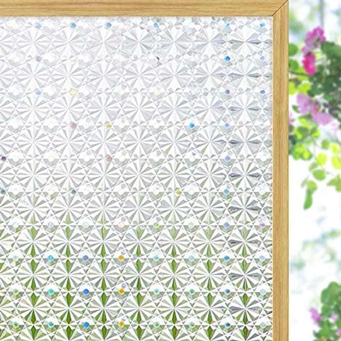 Coavas Privacy Window Film,3D Kaleidoscope Glass Window Film, Frosted Window Stickers, Opaque Window Sticker for Kitchen Bathroom and Home, 44 x 200cm