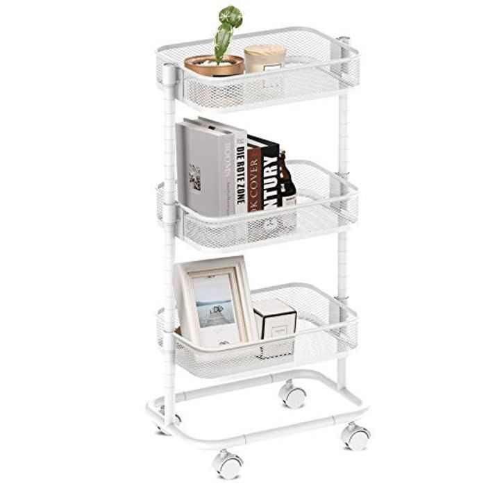 alvorog Storage Trolley, 3-Tier Rolling Cart with Metal Mesh Basket, Trolley on Wheels, No Screws Assemble, Multi-purpose Shelving Organizer for Kitchen,Bathroom, Office, Library (White)